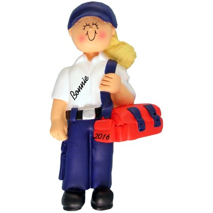 EMT female blonde personalized christmas ornament