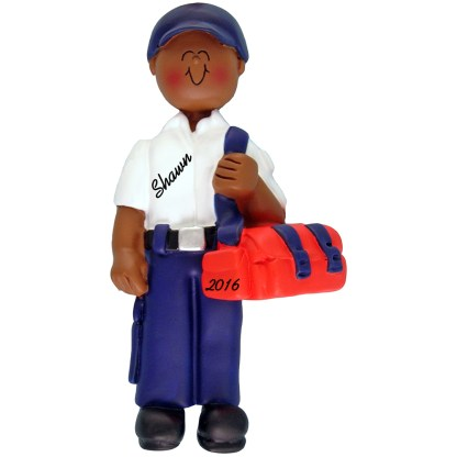 EMT male african american personalized christmas ornament