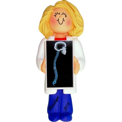 x ray tech woman personalized christmas ornament