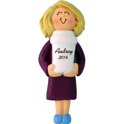 coffee drinker woman blonde personalized christmas ornament