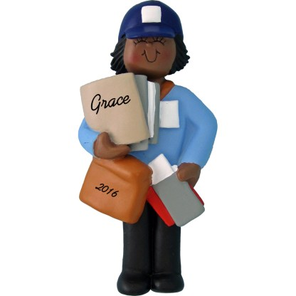 woman letter carrier african american personalized christmas ornament