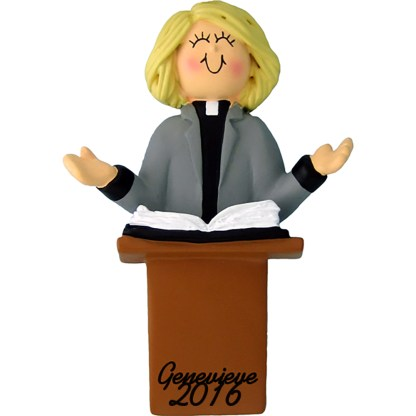 minister female blonde personalized christmas ornament