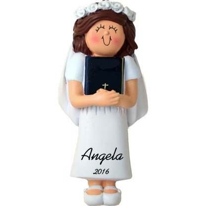 first holy communion girl brunette personalized christmas ornament