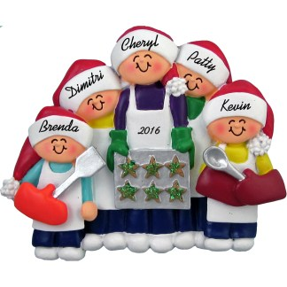 baking cookies personalized christmas ornament five people