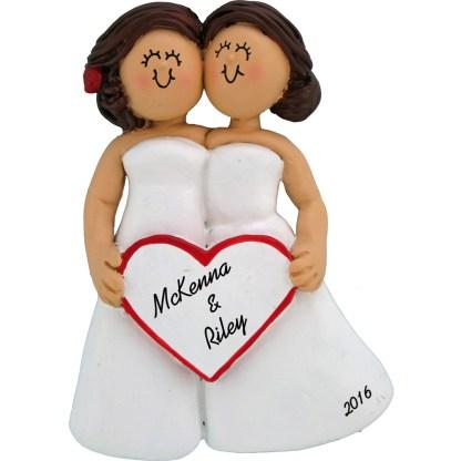 same sex wedding female brunettes personalized christmas ornament