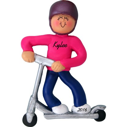 scooter girl personalized christmas ornament