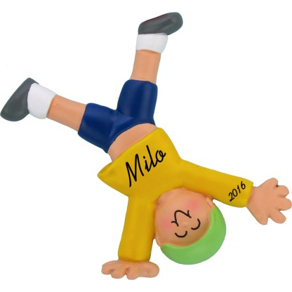 tumbling boy ornament personalized christmas ornament