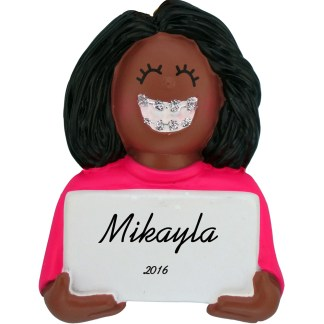 girl with braces african american personalized christmas ornament