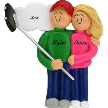 selfie stick couple blonde personalized christmas ornament