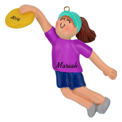 frisbee girl brunette personalized christmas ornament