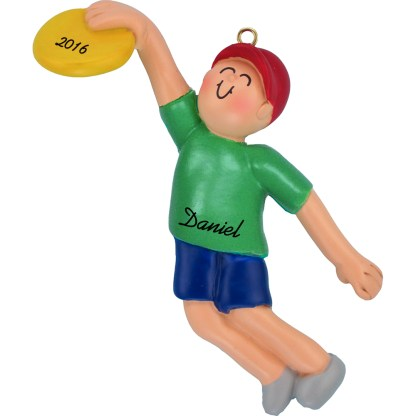 frisbee boy personalized christmas ornament