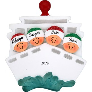 cruise ship family of four personalized christmas ornament