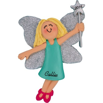fairy female blonde personalized christmas ornament