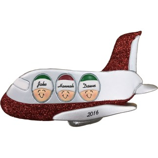airplane family of three personalized christmas ornament
