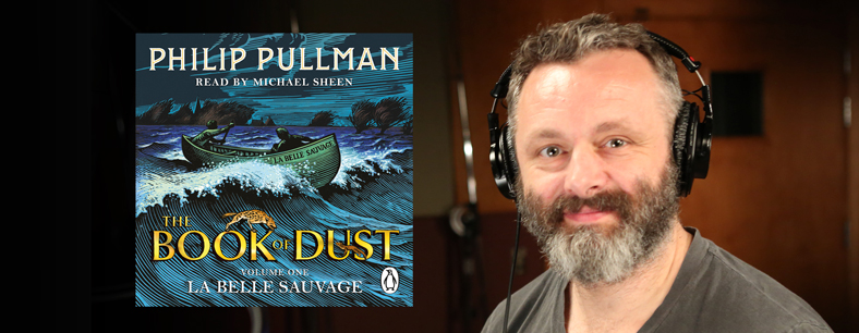 Picture of audio book and reader of La Belle Sauvage