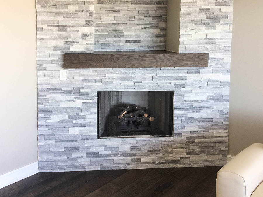 split face stone fireplace