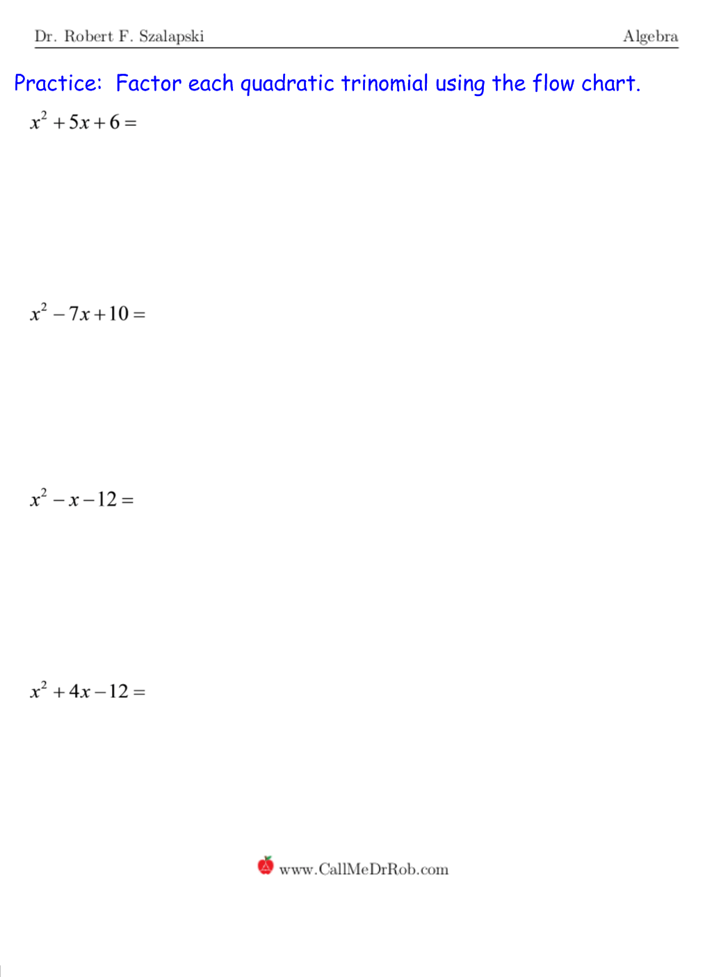 Quadratic Polynomial Factoring No A