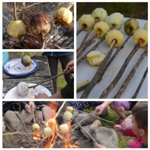 Collage of making campfire toffee apples