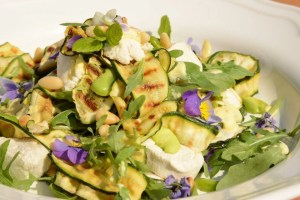 Char-grilled Zucchini ribbons with Cashew cheese & Pine nuts is a  WFPB - no oil salad