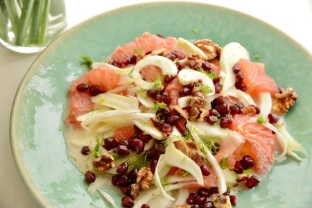 A delicious salad of Fennel and Ruby Grapefruit with Pomegranate and Walnuts