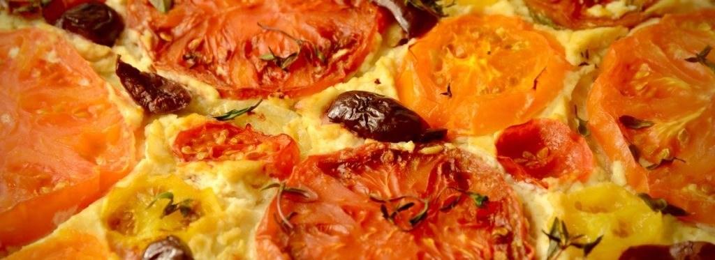 A closeup of the Vegan Tomato Tart