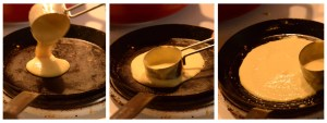 How to make aplant-based crêpe step 1-3 pouring and spreading the batter