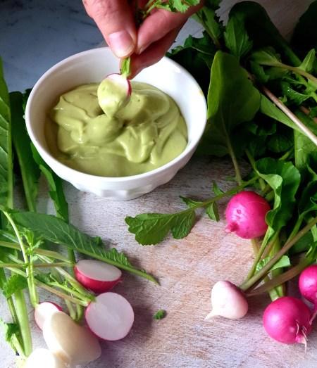 Silky avocado whip with easter egg radish erudite