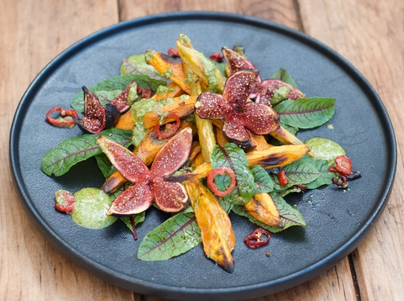 Roasted kūmara, fig & chilli with walnut Salsa and