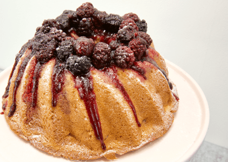 Apple Cake with Blackberry topping and drizzle