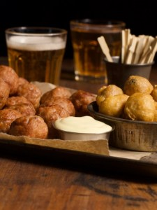 beer battered olives, mayo and beers
