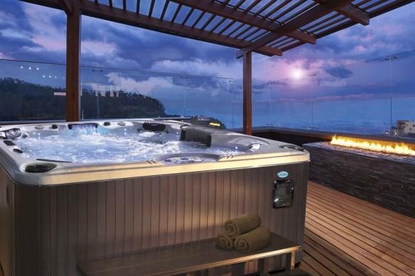 Interior design: Beautiful modern terrace lounge with pergola at