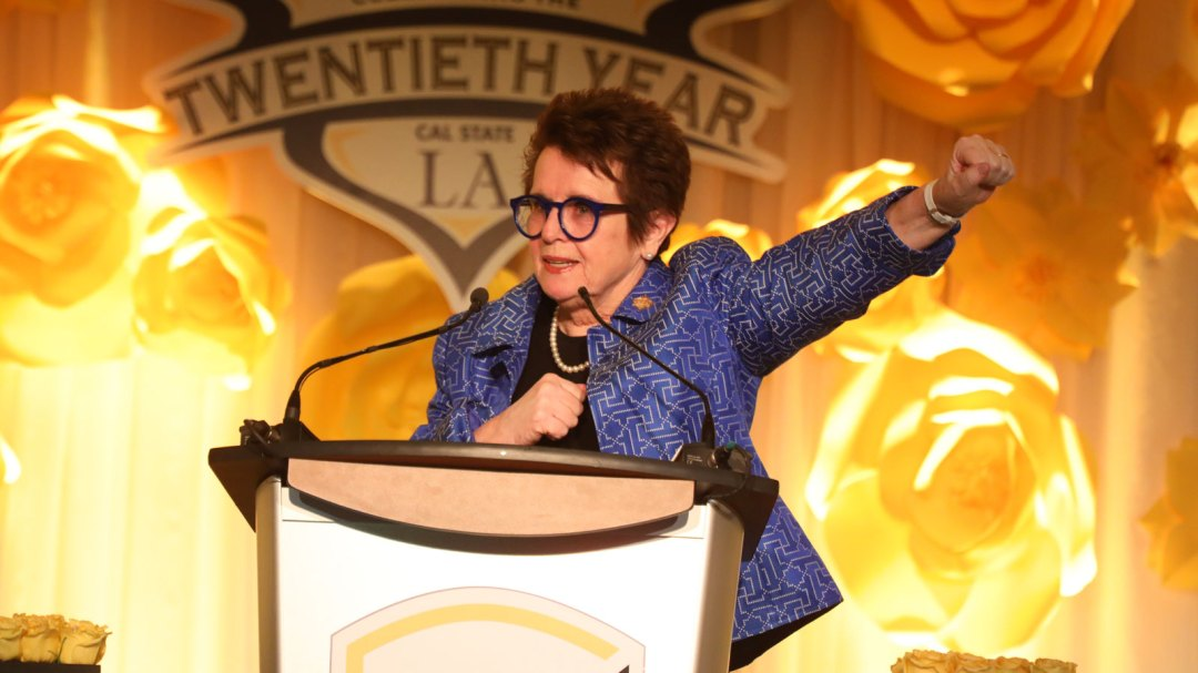 Billie Jean King speaking at the 20th Billie Jean King & Friends gala