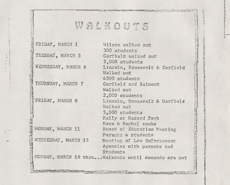 Flyer showing dates of when schools walked out and other related events surrounding the walkouts.