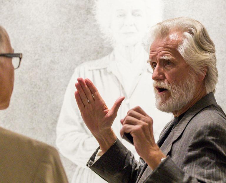 "Alumnus Kent Twitchell at Cal State LA's ""Legacies"" exhibit."