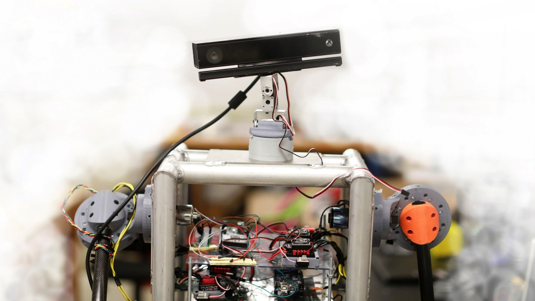 A photograph of Melo, a robot designed by Salvador Rojas.