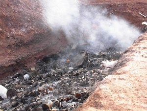 Active solid Waste Burn Pit Discovered During Phase 1 Environmental Assessment