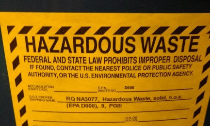 Label used to identify hazardous waste being stored as a LQG hazardous waste generator