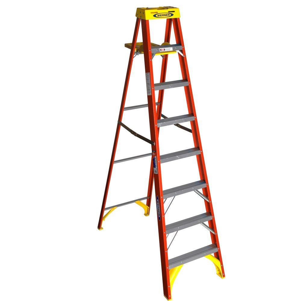 Werner 8 Ft Fiberglass Step Ladder 300 Lbs