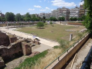 Here you see the ancient agora in Thessaloniki. It is surrounded by modern buildings and roads. We learned that the agora is often mistranslated as marketplace. While that is not inaccurate it was also much more. The agora was the center of city life, town square would be a more accurate translation.