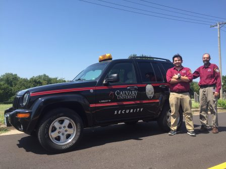 Security Chief Glenn Williams (right) and Lieutenant Blake Lamb (left) with the new vehicle.