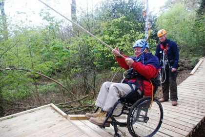 wheelchair zip wire intex inflatable lounge chair with ottoman reviews new low ropes course is now open fundraising news calvert trust bridge pull