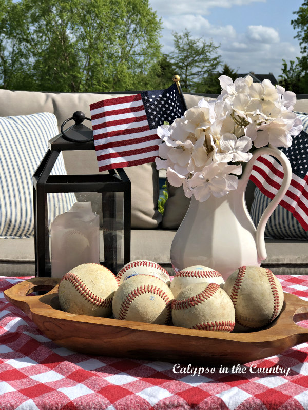 Faux hydrangeas and patriotic decor ideas