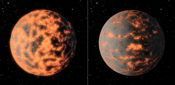 Artist's impression of super-Earth 55 Cancri e, showing a hot partially-molten surface of the planet before and after possible volcanic activity on the day side.
