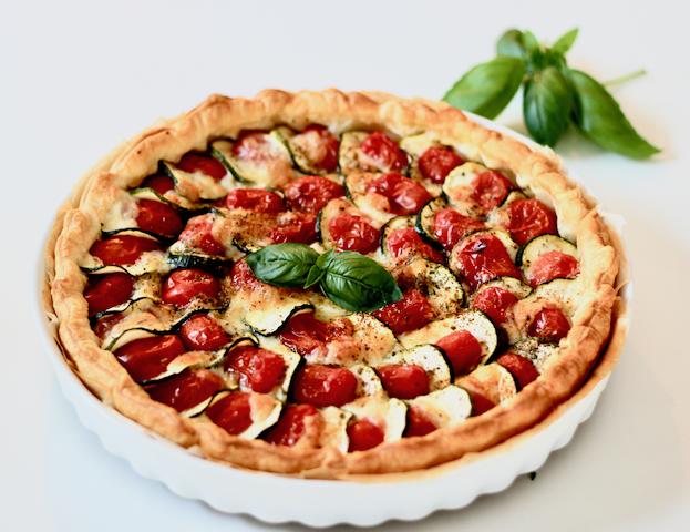 Tarte tomates, courgettes et mozzarella