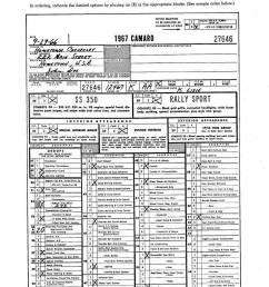 1967 camaro dealer order form [ 1023 x 1374 Pixel ]