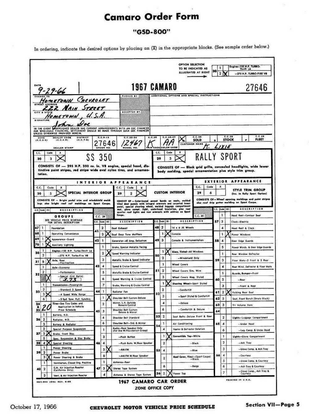 medium resolution of 1967 camaro dealer order form