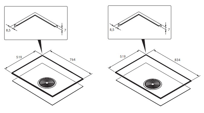 Bora Basic Cooktop Frame Surface Mounting Suitable for BIA