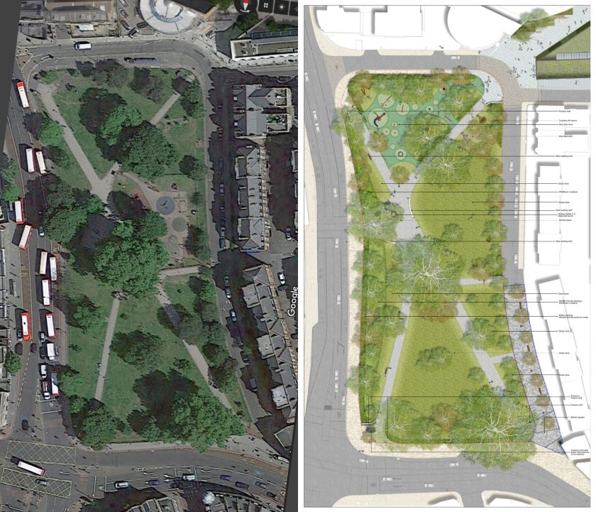 A satellite picture of Camberwell Green alongside a plan showing changes