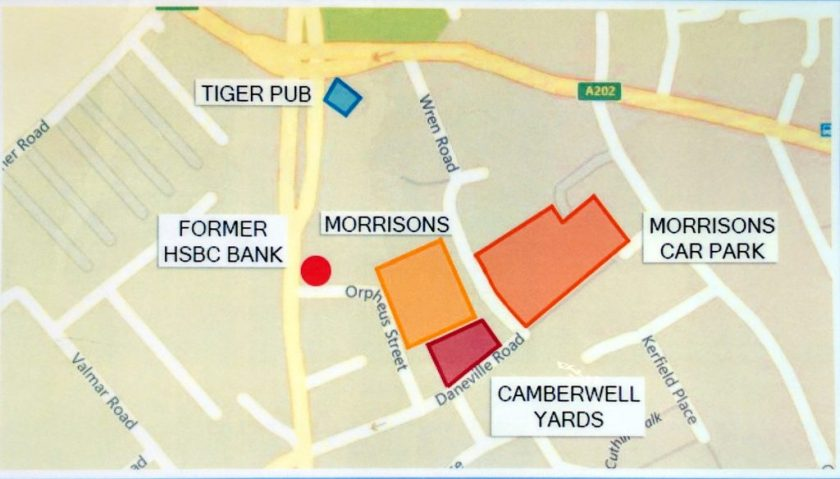 Map showing Camberwell Yards, just off Daneville Road