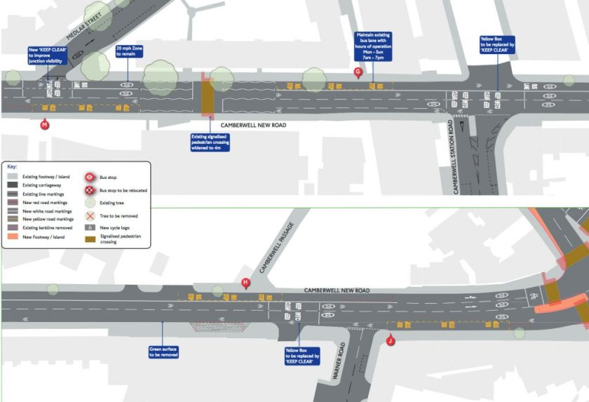 Map of proposed changes to Camberwell New Road